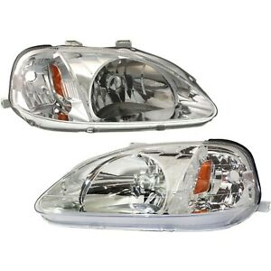 Headlight Set For 99 2000 Honda Civic Left And Right Clear Lens 2pc