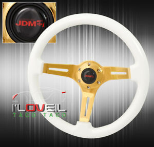 For Vw Gold 345mm 3 Spoke Steel Center White Wood Grain Trim Steering Wheel Jdm