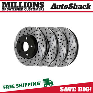 Front Rear Drilled Slotted Disc Brake Rotors Set Of 4 For Ford Mustang 4 6l V8