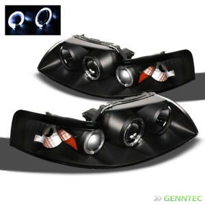 For 1999 2004 Ford Mustang Dual Halo Projector Headlights Blk Head Lights Lamp