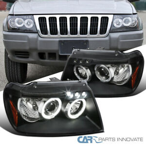 99 04 Jeep Grand Cherokee Black Led Halo Projector Headlights Head Lights Lamps