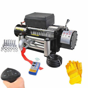 Classic 12500lbs 12v Electric Recovery Winch Truck Suv Wireless Remote W Gloves