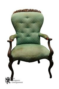 Antique 19th Century French Carved Accent Arm Chair Cabriole Legs Tufted Ornate