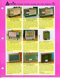 Vintage Arvin Ad Sales Sheet portable Electric Heaters