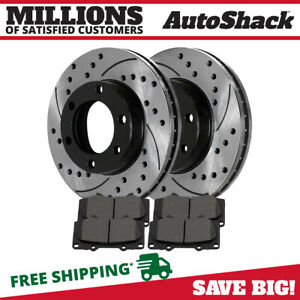 Front 2 Performance Rotors 4 Ceramic Brake Pad Fits 2001 2007 Toyota Sequoia
