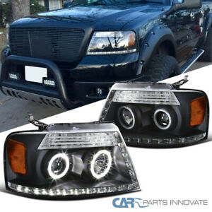 04 08 Ford F150 06 08 Lincoln Mark Lt Black Dual Halo Led Projector Headlights