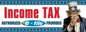 Income Tax uncle Sam Vinyl Banner Sign 3 X 8