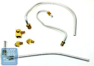 1966 Pontiac Tri Power Fuel Line Kit With Front Block Two 105 Degree Fittings