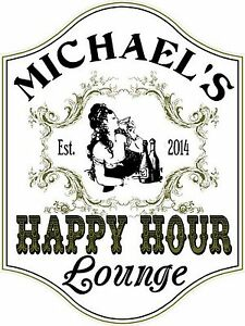 Happy Hour Lounge Custom Wooden Novelty Sign