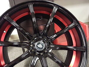 22 Diamond 3195 Black Red Wheels Tires Fit Bmw 5 6 7 Series Charger 300 Nice