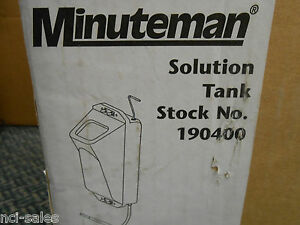 Minuteman 190400 Solution Tank And Mounting Hardware