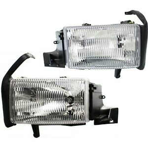 Headlight Set For 94 2001 Dodge Ram 1500 Left Right Single Beam Headlight 2pc