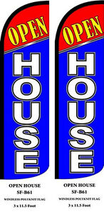 Open House blue Two 2 Swooper Feather Flag Kits With Hardware