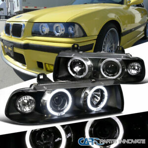 92 98 Bmw E36 2 4dr Coupe Sedan Dual Halo 1pc Projector Head Lights Lamps Black