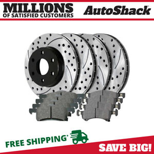 Front Rear 4 Performance Rotors 8 Ceramic Pad Fits 2003 2006 Ford Expedition