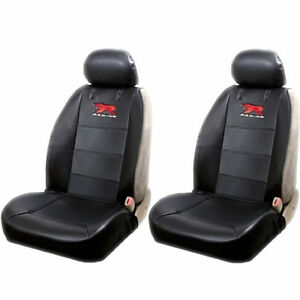 4 Piece R Racing Elite Logo Black Low Back Seat Covers For Removeable Headrest