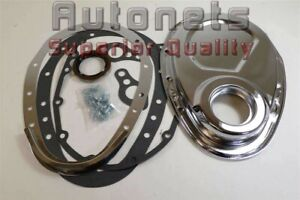 Sbc Chrome Steel Chevy Timing Chain Cover 2 Piece 283 305 325 350 Hot Rat Rod