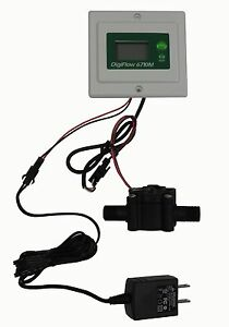 Panel Digiflow Digital Flow Meter Count Up Total Water Gallons Gpm 56 cable Cord