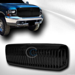 Fit 99 04 Ford F250 f350 excursion Glossy Blk Vertical Front Bumper Grill Grille