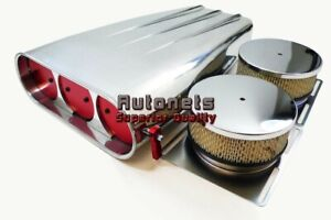 Polish Aluminum Fin Single Dual Carb 4bbl Red Butterfly Street Air Scoop Blower