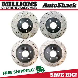 Front Rear Drilled Slotted Brake Rotors For 1998 2002 Pontiac Firebird Camaro