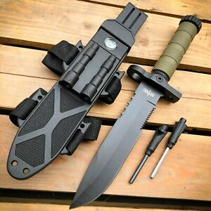 12.5quot; MILITARY TACTICAL Hunting FIXED BLADE SURVIVAL Knife w Fire Starter Army $19.95