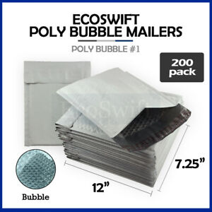 200 1 7 25x12 Poly Bubble Mailers Padded Envelope Shipping Bags 7 25 X 12 1