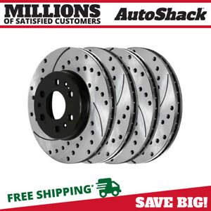 Front Rear Drilled Slotted Disc Brake Rotors Set Of 4 For Chevrolet Tahoe 6 2l