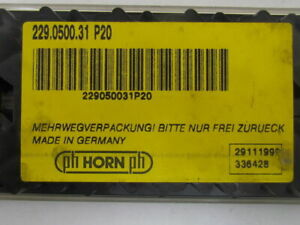 Horn 229 0500 31 P20 29111999 336428 Carbide Grooving Insert P20 Box Of 5
