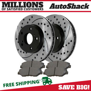 Front 2 Drilled Slotted Rotors 4 Ceramic Brake Pad Fits 91 1995 Acura Legend