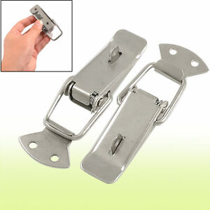 Toolbox Locked Style 4 3 Long Pull Down Loop Draw Latch Silver Tone 2 Pcs