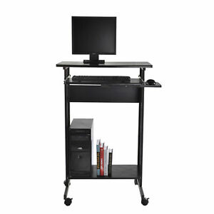 Homcom Home Office Wheeled Computer Desk Laptop Table Workstation W casters Tray