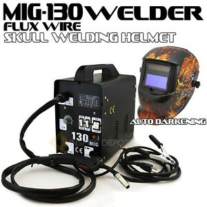 Mig 130 Flux Wire Welder Machine No Gas Flame Auto Darkening Welding Helmet Ce