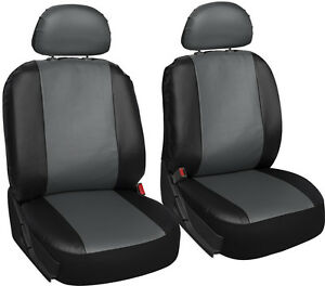 Faux Leather Suv Van Truck Seat Cover Grey Black 6pc W Detachable Head Rests