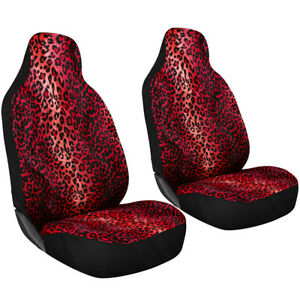 2pc Set Red Leopard Cheetah Animal Print High Back Front Bucket Suv Seat Covers