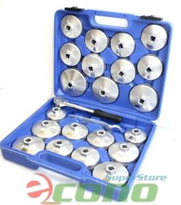 23pc Aluminum Alloy Cup Type Oil Filter Cap Wrench Socket Removal Set 1 2 dr