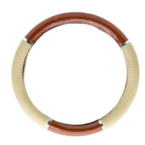 New Tan Synthetic Leather Faux Wood Car Truck Van Steering Wheel Cover