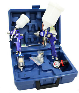New 2 Hvlp Air Spray Paint Gun 1 0mm 1 4mm Air Touch Up Gun Painting Tool Kit