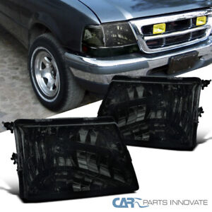 For 98 00 Ford Ranger Ev Xl Xlt Smoke Headlights Tinted Head Lamps Left right