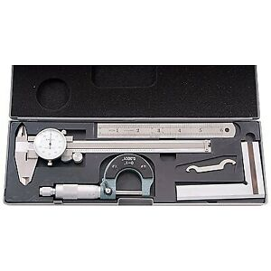 4 Piece Machinist s Student s Kit With 6 Dial Caliper 4902 0004