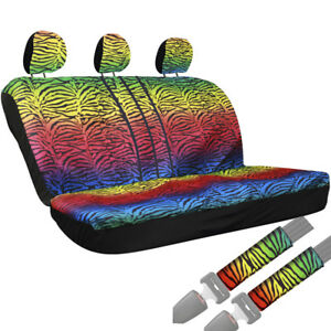 8pc Zebra Stripes Rainbow Animal Print Front Rear Bench Row Truck Seat Cover 2a