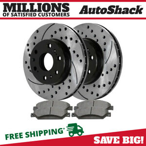 Front Drilled Slotted Rotors And Ceramic Pads For 2005 2016 2017 Silverado 1500