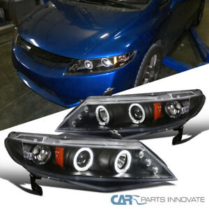 For Honda 06 11 Civic 4dr Sedan Led Halo Projector Headlights Head Lamps Black