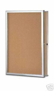 Enclosed 36 x30 Cork Bulletin Board For Indoor Use
