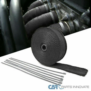 50 Black Fiberglass Exhaust Pipe Header Wrap With Ties For Car Motorcycle