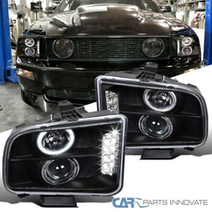 For 05 09 Ford Mustang Matte Black Led Halo Projector Headlights Head Lamps Pair