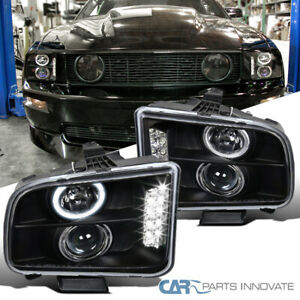 Ford 05 09 Mustang Black Led Halo Projector Headlights Head Lights Lamps Pair