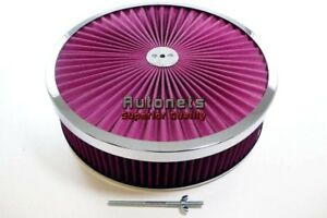 14 Round Reusable Washable Air Cleaner Filter Top Super Flow Chrome Chevy Ford