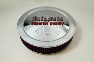 14 Big Block Chevy 454 Logo Muscle Chrome Flat Air Cleaner Washable Reusable