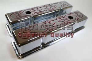 Chrome Steel Red Flame Chrome Valve Covers Sbc 283 305 327 350 Small Block Chevy